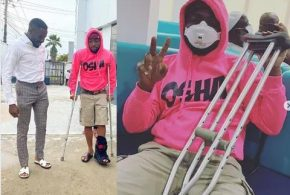 Davido involved in an accident,fractures his leg, now using crutches